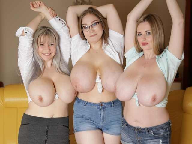 Three busty friends